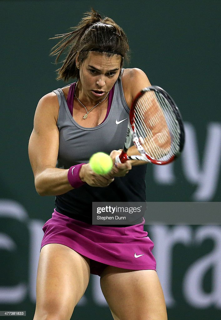 Ajla Tomljanovic of Croatia Sloane Stephens during the BNP Paribas Open at Indian Wells Tennis Garden on March 8, 2014 in Indian Wells, California.