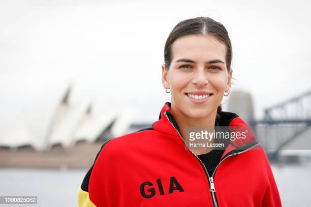 Ajla Tomljanovic poses during a media opportunity of the 2019 Sydney International on the super yacht 'Corroboree' in Sydney Harbour on January 06...