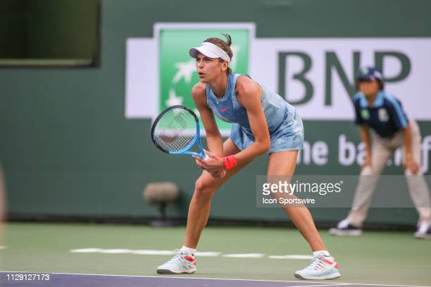 Ajla Tomljanovic prepares to return serve during the BNP Paribas Open on March 7 2019 at Indian Wells Tennis Garden in Indian Wells CA