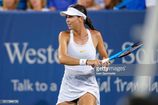 Ajla Tomljanovic smiles after scoring a point during the Western Southern Open at the Lindner Family Tennis Center in Mason Ohio on August 15 2018
