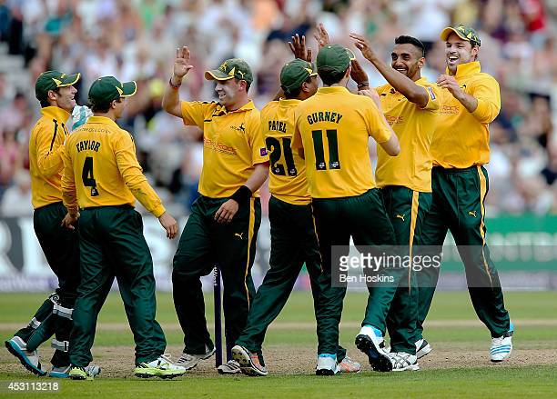 Ajmal Shahzad of Nottinghamshire celebrates taking a wicket during the Natwest T20 Blast Quarter Final match between Nottinghamshire Outlaws and...