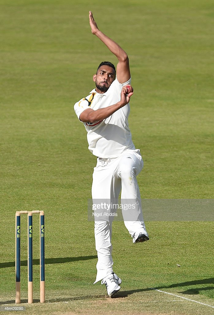 Ajmal Shahzad of Nottinghamshire in action during the LV County Championship match between Durham and Nottinghamshire at The Riverside on August 31, 2014 in Chester-le-Street, England.