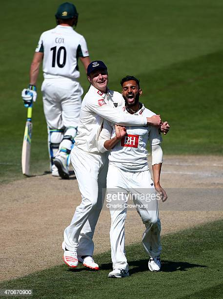 Ajmal Shahzad of Sussex celebrates with Luke Wright after taking the wicket of Sachithra Senanayake of Worcestershire's during day four of the LV...