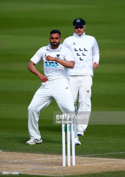 Ajmal Shahzad of Sussex dances as he celebrates claiming the wicket of Sam Northeast of Kent during day one of the Specsavers County Championship...