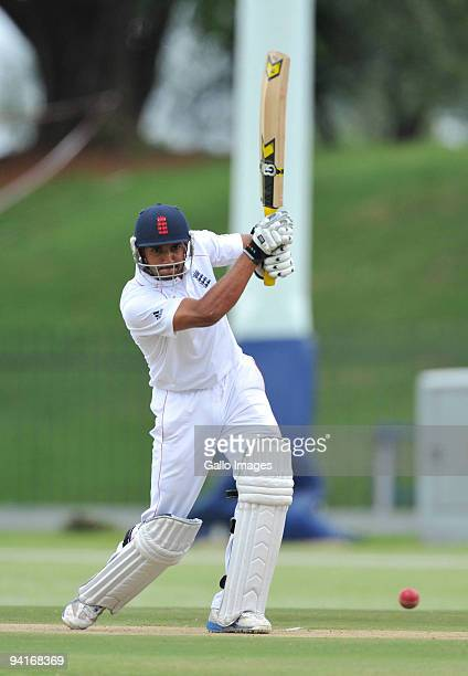Ajmal Shazad of England drives for a boundary during the practice match between Nashua Titans Invitational XI and England Lions at the High...