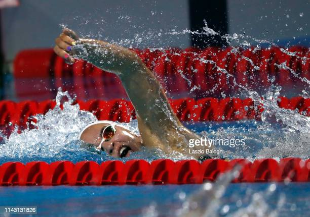 Ajna Kesely of Hungary competes in the Women's 400m Freestyle during day one of the FINA Champions Swim Series at Duna Arena on May 11 2019 in...