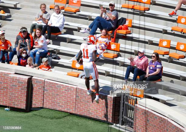 Ajou Ajou of the Clemson Tigers reacts after scoring a touchdown during the second half of the Clemson Orange and White Spring Game at Memorial...