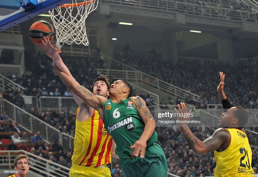 Slaughter, #6 of Panathinaikos Athens in action during the Turkish Airlines Euroleague Basketball Top 16 Date 9 game between Panathinaikos Athens v FC Barcelona at Olympic Sports Center Athens on March 5, 2015 in Athens, Greece.