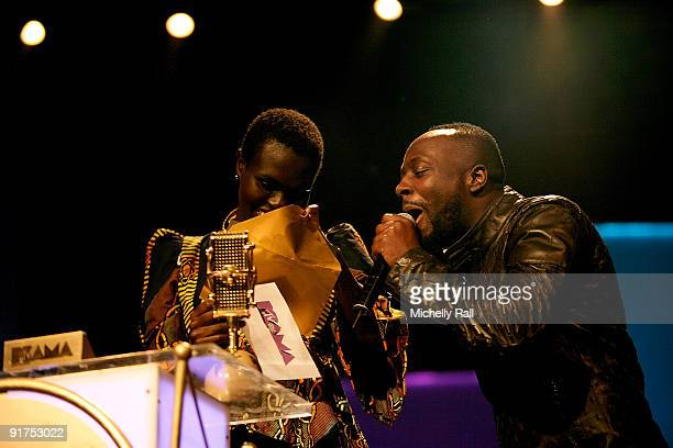 Ajuma Nasenyana and Wyclef Jean hosts the MTV Africa Music Awards with Zain at the Moi International Sports Centre on October 10 2009 in Nairobi Kenya
