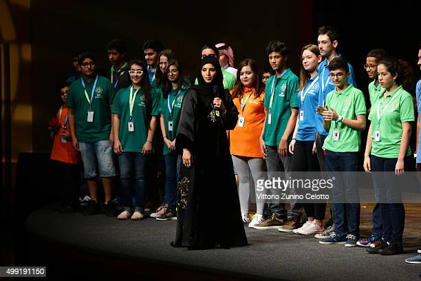 Ajyal Youth Film Festival Director and Doha Film Institute CEO Fatma Al Remaihi with a selection of jurors at the Katara Opera House for the regional...