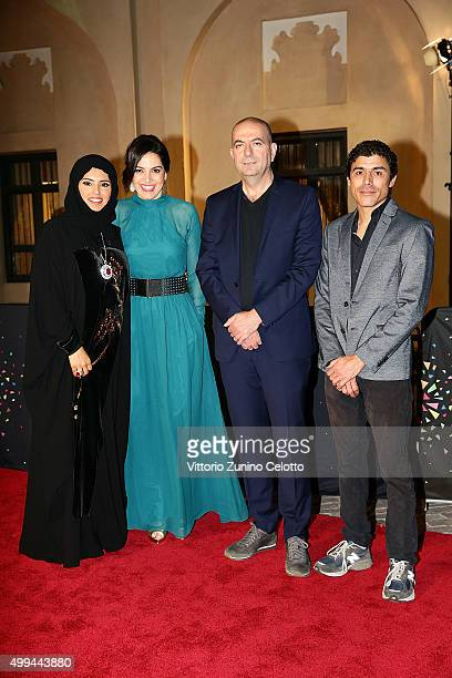 Ajyal Youth Film Festival Director and Doha Film Institute CEO Fatma Al Remaihi producer Amira Diab director Hany AbuAssad and Ehab Assal on the red...