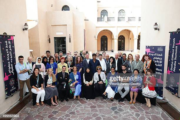 Ajyal Youth Film Festival Director and Doha Film Institute CEO Fatma Al Remaihi with industry delegates at the closing session of the Doha Giffoni...