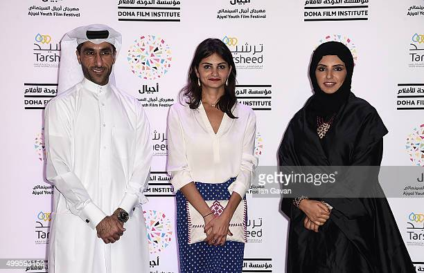 Ajyal Youth Film Festival Director and Doha Film Institute CEO Fatma Al Remaihi with Made in Qatar jurors Bassam Al Ibrahim and Ahd on the red carpet...