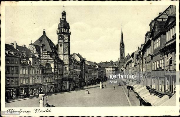 Ak Altenburg in Thüringen Marktplatz Geschäfte Rathaus Kirche