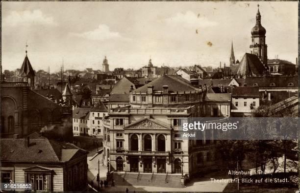 Ak Altenburg in Thüringen Theater mit Blick auf die Stadt Kirchturm