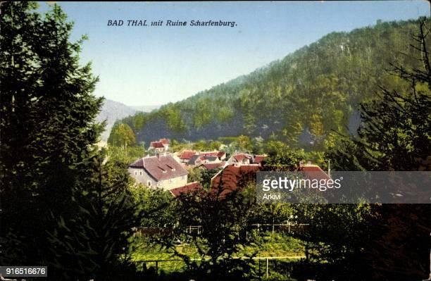 Ak Bad Thal Ruhla im Wartburgkreis Thüringen Blick auf Ruine Scharfenburg
