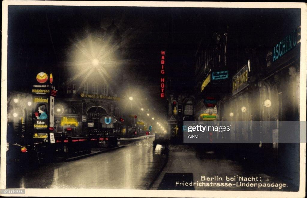 Ak Berlin ak berlin friedrichstraße lindenpassage bei nacht habig hüte