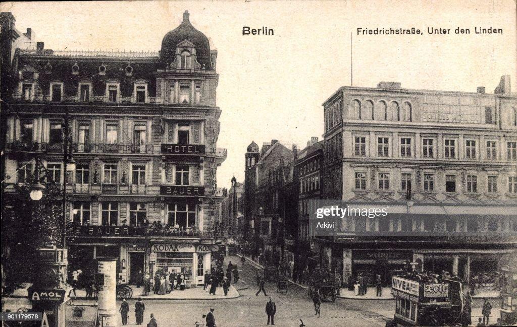 Ak Berlin ak berlin friedrichstraße unter den linden hotel bauer kranzler