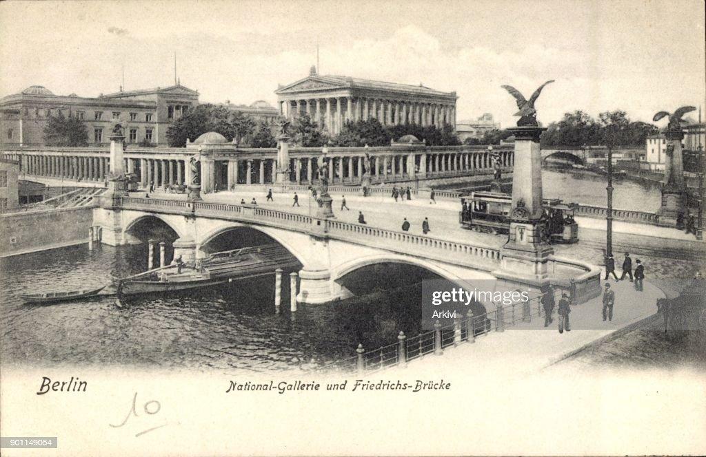 Ak Berlin ak berlin mitte national galerie und friedrichsbrücke straßenbahn