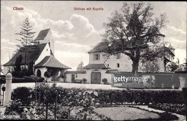 Ak Cham Kanton Zug Blick auf das Schloss mit Kapelle