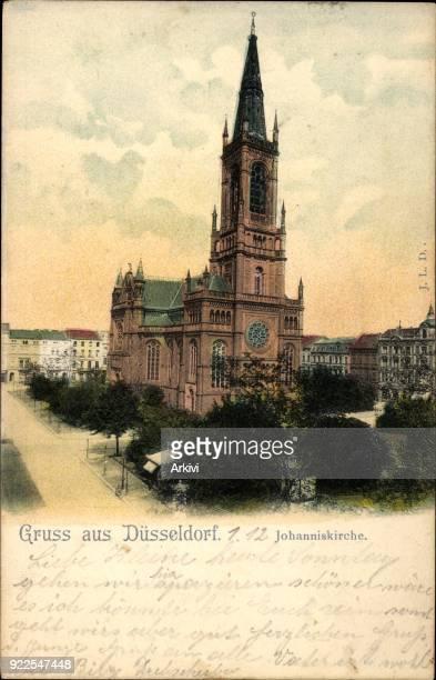 Ak Düsseldorf am Rhein Blick auf die Johanniskirche Wohnhäuser
