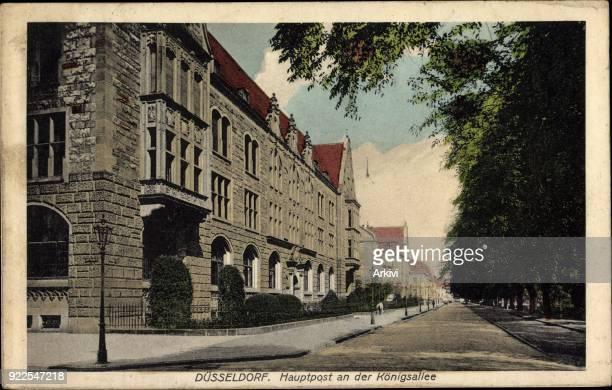 Ak Düsseldorf Blick auf Hauptpost an der Königsallee