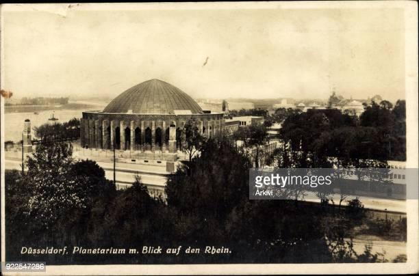 Ak Düsseldorf Planetarium mit Blick auf den Rhein