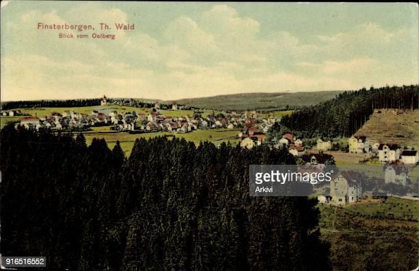 Ak Finsterbergen Friedrichroda Thüringen Blick vom Oelberg aus auf Stadt