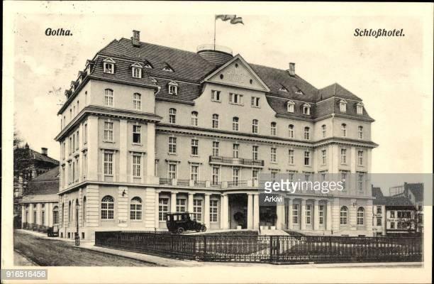 Ak Gotha im Thüringer Becken Blick auf das Schloss Hotel
