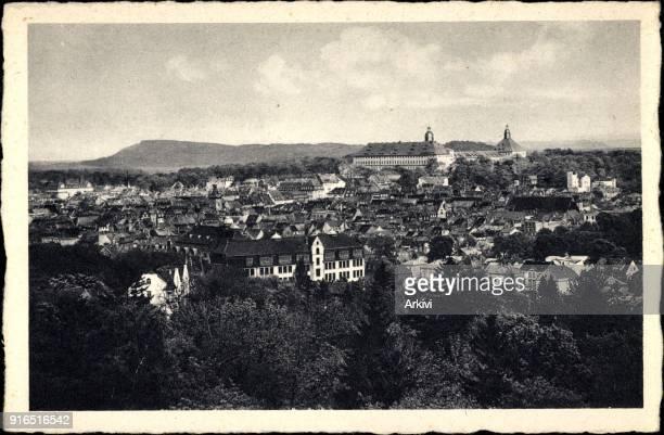 Ak Gotha im Thüringer Becken Blick vom Galberg auf den Ort und Schloss