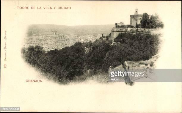 Ak Granada Andalusien Spanien, Torre de la Vela y Ciudad, Festung, Turm