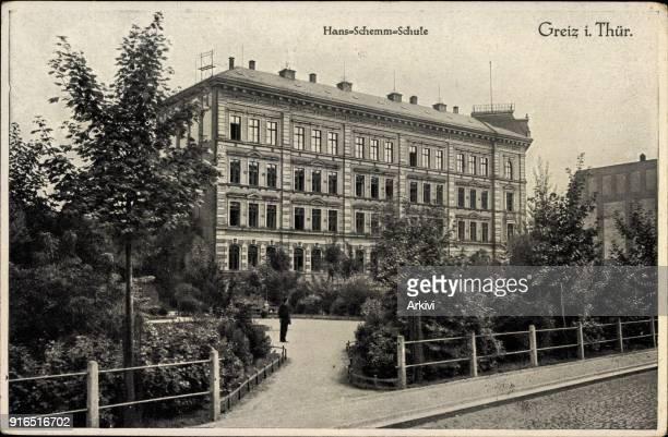 Ak Greiz in Thüringen Blick von außen auf die Hansa Schemm Schule