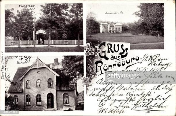 Ak Hamburg Harburg Rönneburg Sommervilla Kaisersaal Flügge Schule gelaufen 1902 Eckknicke sonst guter Zustand