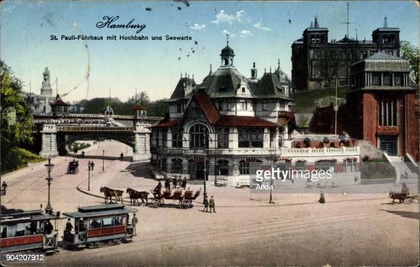 Ak Hamburg St. Pauli, Fährhaus mit Hochbahn und Seewarte, Straßenbahn