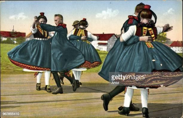 Ak Hessische Trachten Original Schwälmer Tanz Tanzpaare