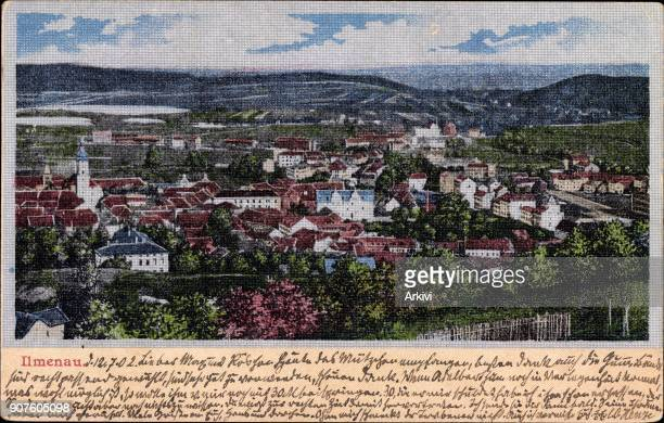 Ak Ilmenau im Ilm Kreis Thüringen Panorama der Stadt Seidenimitat