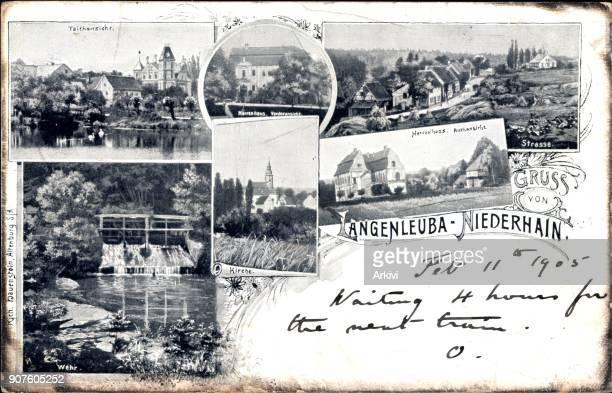 Ak Langenleuba Niederhain Herrenhaus Straße Teichansicht Wehr Kirche