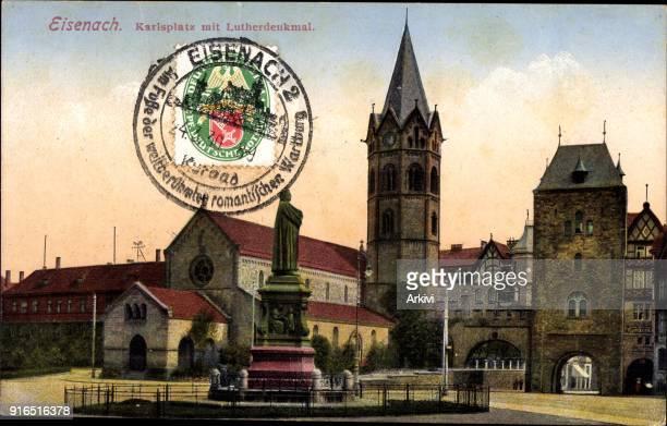Ak Lutherstadt Eisenach in Thüringen Blick auf den Karlsplatz mit Lutherdenkmal