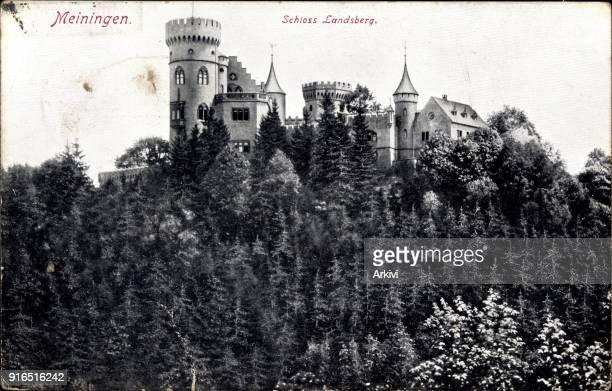 Ak Meiningen in Südthüringen Blick auf das Schloss Landsberg Waldhang