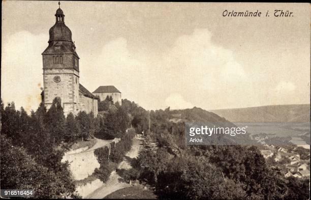 Ak Orlamünde Thüringen Blick auf die Kirche Berg Wald Ort