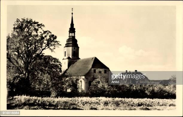 Ak Ponitz Kreis Altenburger Land Blick auf die Kirche Glockenturm