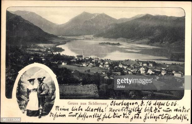 Ak Schliersee im Kreis Miesbach Oberbayern Gesamtansicht der Stadt Tracht