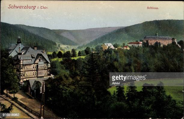 Ak Schwarzburg im Schwarzatal Thüringen Blick auf den Ort mit Schloss