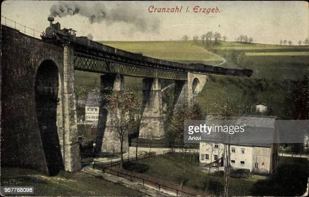 Ak Sehmatal Cranzahl im Erzgebirge Viadukt mit Lokomotive und Umgebung gelaufen Briefmarke entfernt Ecken bestoßen fleckig sonst guter Zustand PLZ
