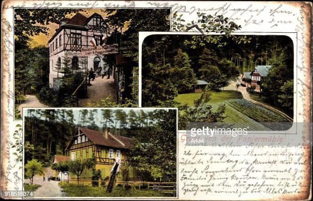 Ak Stadtroda an der Roda Thüringen Blick auf Restaurant zur Papiermühle