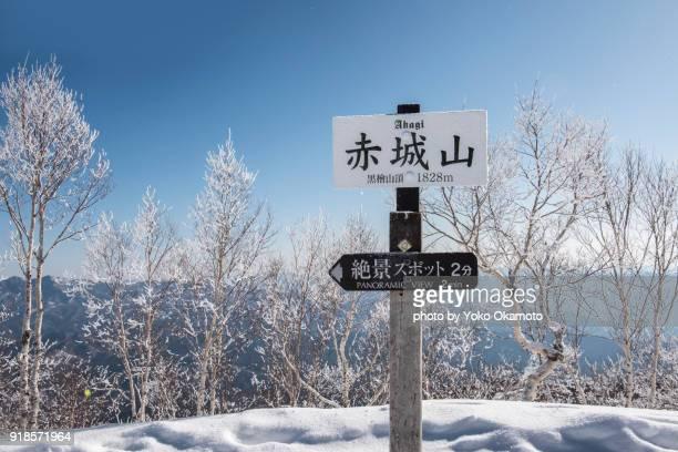 akagi mountain peak of snow - maebashi city stock photos and pictures