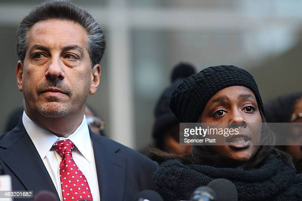 Akai Gurley's partner Kimberly Ballinger speaks at a news conference with her attorney Scott Rynecki following remarks by Brooklyn District Attorney...