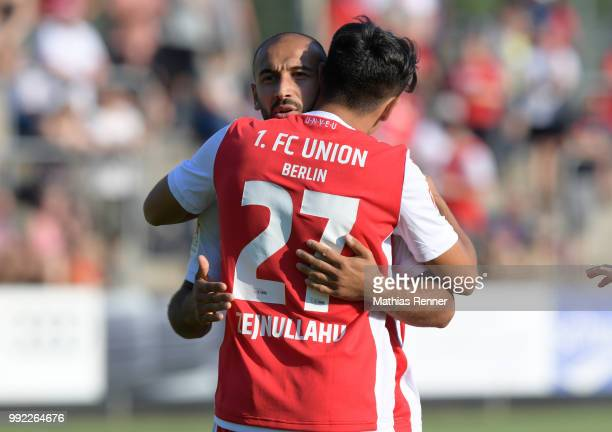 Akaki Gogia and Eroll Zejnullahu of 1 FC Union Berlin hug during the test match between dem FSV Union Fuerstenwalde and Union Berlin at the...