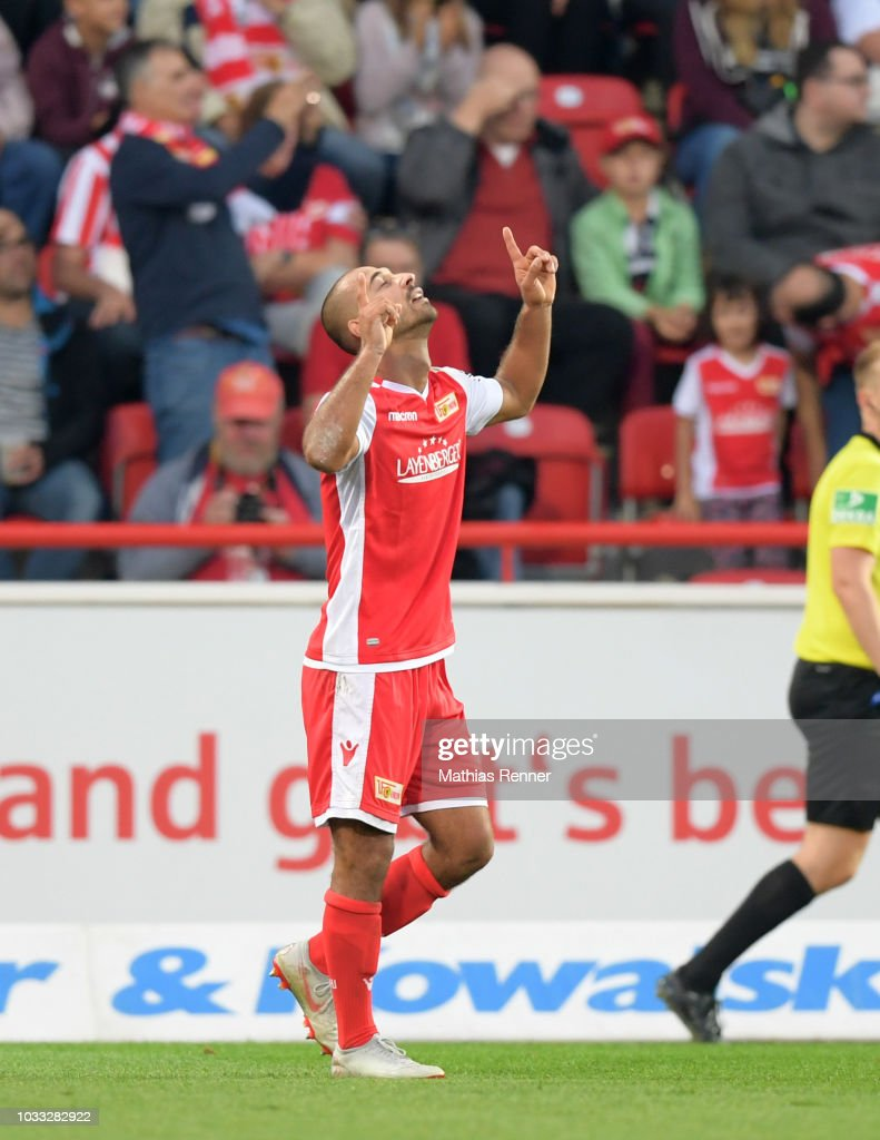 Akaki Gogia of 1 FC Union Berlin celebrates after scoring the 1:0 during the game between Union Berlin and the MSV Duisburg at the Stadion an der Alten Foersterei on september 14, 2018 in Berlin, Germany.