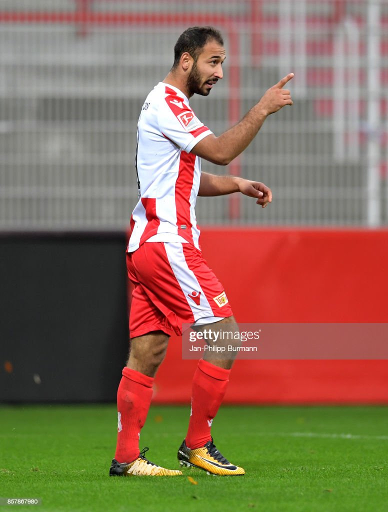 Akaki Gogia of 1 FC Union Berlin celebrates after scoring the 2:1 during the game between Union Berlin and FK Dinamo Brest on october 5, 2017 in Berlin, Germany.